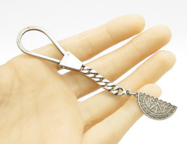 925 Sterling Silver - Vintage Half Circle Foreign Language Key Ring - T1073 - $42.03