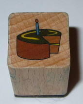 Birthday Cake Candle Rubber Stamp Wood Mounted Mini Party Food Dessert  - $2.27
