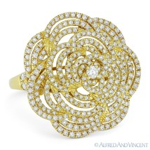 1.49ct Round Cut Diamond Pave Right-Hand Flower Cocktail Ring in 18k Yel... - $3,419.99