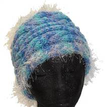 Lavender/Turquoise hand knit hat with eyelash fringe - $25.00