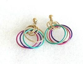 """Vintage Multicolor & Gold Tone Hoop Dangle Stud Earrings 1.75"""" Long - $14.84"""