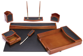 Majestic Goods 7 Piece Brown Oak with Black Eco-Friendly Leather and PU ... - €98,41 EUR