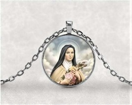 Saint Therese of Lisieux Necklace Pendant - Religious Saint Silver 1 inc... - $7.95