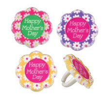 Mothers Day Cupcake Toppers Flowers 24 PC Mom P... - $15.95