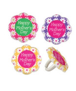 Mothers Day Cupcake Toppers Flowers 24 PC Mom Picks Baking Dessert Decor... - $15.95