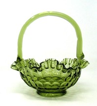 Fenton? GLASS BASKET Bowl Green Thumbprint Pattern w/Bamboo Inspired Han... - $26.24