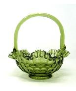 Fenton? GLASS BASKET Bowl Green Thumbprint Pattern w/Bamboo Inspired Han... - $26.24