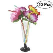 bestoyard Tropical Hawaii-Kunststoff Trinkhalme Hibiskus Blume flexibel ... - £16.68 GBP