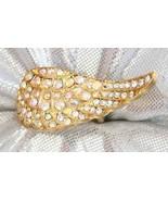 Art Moderne Aurora Borealis & Crystal Rhinestone Pave Wing Ring 2000s - $19.75