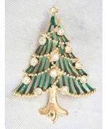 Elegant Art Moderne Crystal Rhinestone Enamel Christmas Tree Brooch 90s - $19.75