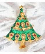 Charming Crystal Rhinestone Enamel Golden Christmas Tree Brooch 90s - $9.85