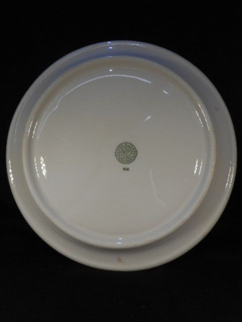 """Vintage Pink Jackson China  USA 9 1/2"""" Pink White Transfer ware Grill Plate"""