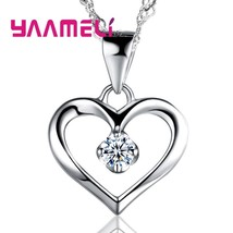 Trendy Women Heart Crystal 925 Sterling Silver Necklaces Jewelry CZ Zircon Penda - $9.81