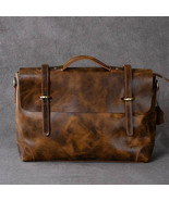 Sale, Horse Leather Men Tote Briefcase, Shoulder Messenger Bag, Laptop Bag - $165.00