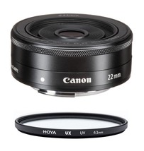 CANON EF-M 22mm F2 STM Black + HOYA UX UV 43mm Filter - $269.63