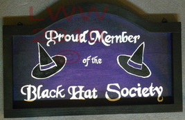 Hand-painted Black & Purple Black Hat Society Witch Sign - $9.99