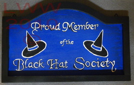 Hand-painted Blue & Black Black Hat Society Wood Sign - $9.99