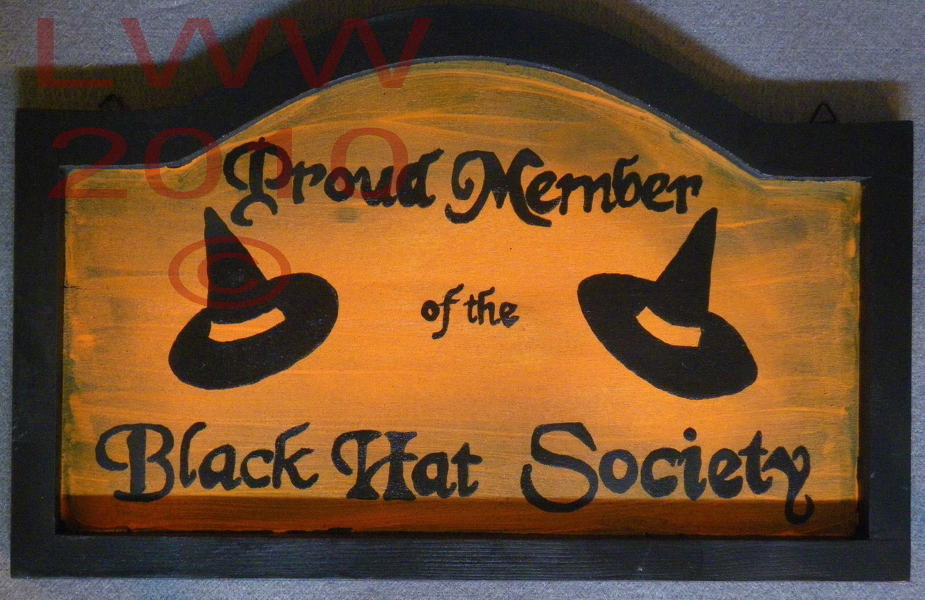 Hand-painted Black & Orange Black Hat Society Witch Wood Sig
