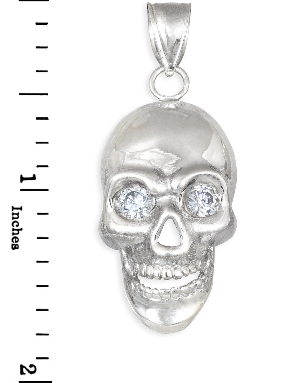 Sterling Silver Polished Skull With Clear CZ Eyes Pendant image 3