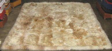 Babyalpaca fur rug,light beige and brown spots, 80 x 60 cm/ 2'62 x 1'97 ft