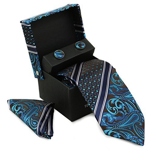 Berlioni Men's Silk Neck Tie Box Set With Cufflinks & Pocket Square (2089 - Blac