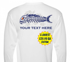 6 Personalized Custom Printed Dri Fit Longsleeve SPF Fishing Tee Sun Shirts  image 1