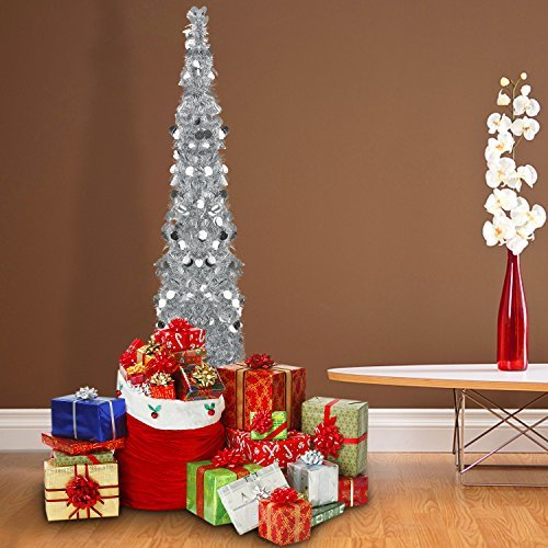 Silver Tinsel Pop Up Christmas Tree: 5 Foot Silver Pop-up Collapsible Tinsel Pencil Indoor