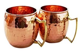 Hammered Copper Moscow Mule Mug Handmade of 100% Pure Copper, Brass Hand... - $23.72