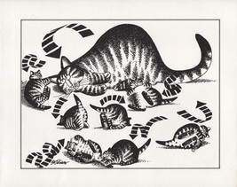 Kliban Cats. Mama Cat & Kittens, Roll Over! Vintage 1981 print. 9 x 11 - $12.00