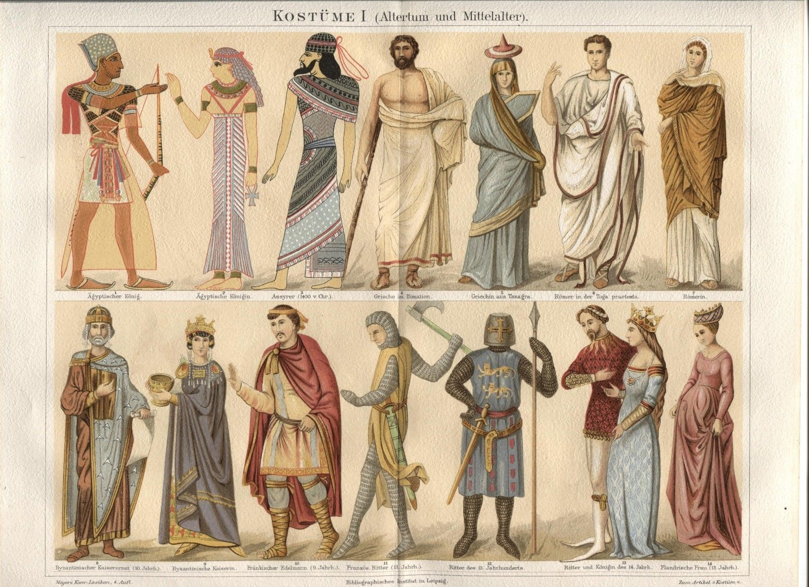 "Costumes Antiquity - Middle Ages. ""Kostume I"" 1888 German Chromolithograph Print"