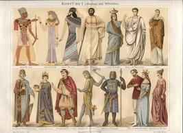 "Costumes Antiquity - Middle Ages. ""Kostume I"" 1888 German Chromolithogra... - $26.46"