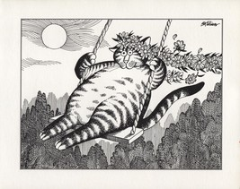 Kliban Cats. May Flower Crowned Swinging Cat. Vintage 1981 print. 9 x 11 - $15.79