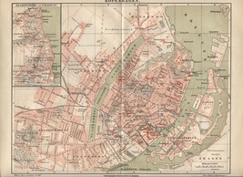 Map: Kopenhagen (Copenhagen). Antique German 1888 print. - $19.59