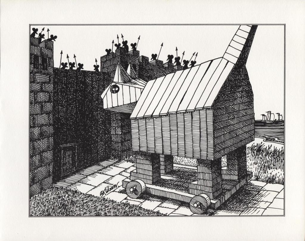 Kliban Cats. Trojan Cat & Fall of the Troy Mice. Vintage 1981 print. 9 x 11