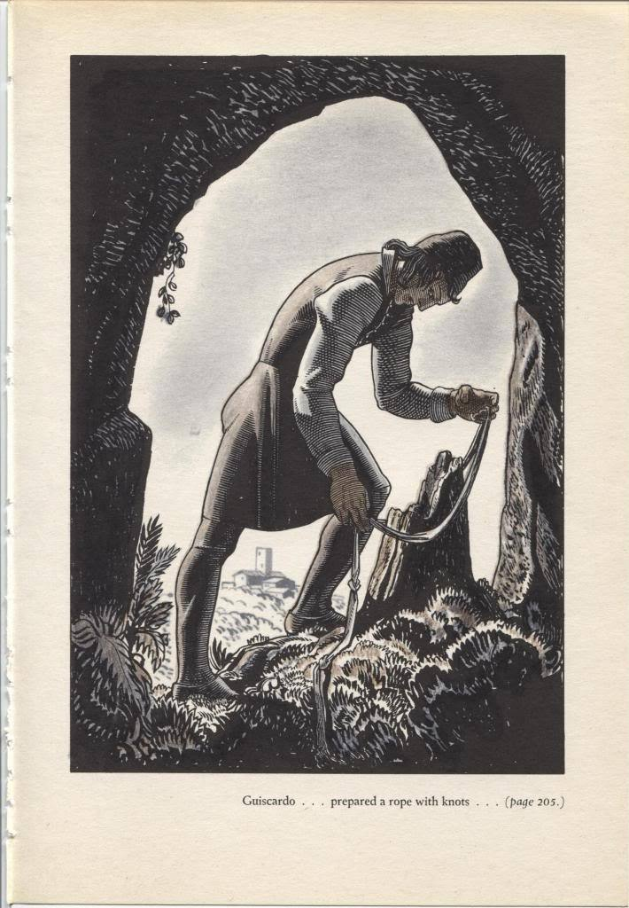 """Rockwell Kent """"Guiscardo prepared a rope"""", The Decameron. Vintage 1949 print."""