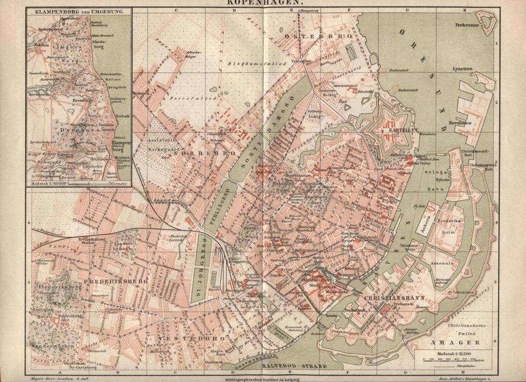 Map: Kopenhagen (Copenhagen). Antique German 1888 print.