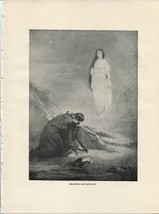 Byron's Manfred and Astarte. K. Liska. Antique 1892 typogravure print. - $14.70