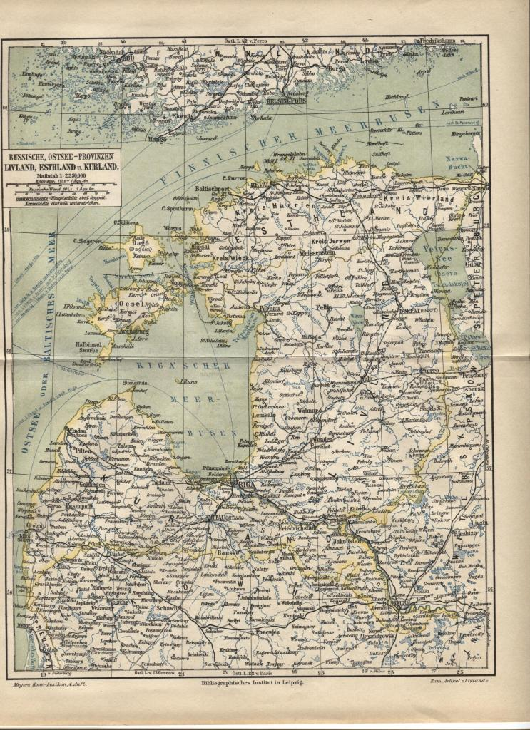 Map: Livonia, Courland. Baltic Russian Provinces. Antique German 1888 print.