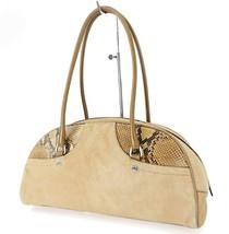 Authentic PRADA Beige Calf Fur and Snake Skin Tote Handr Bag Purse #32731 - $209.00