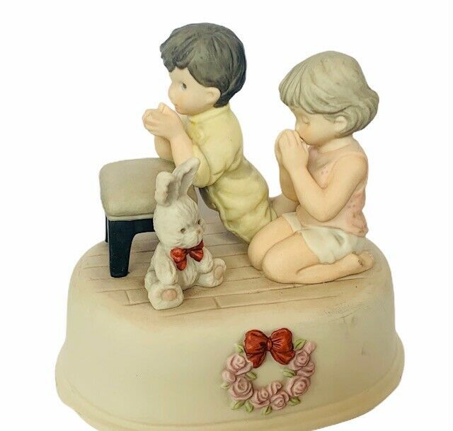 Primary image for Pretty as Picture Kim Anderson figurine vtg Brahms lullaby music box pray bunny