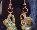 Mini Glazed Terracotta Mexico Pottery New Handmade OoaK Earrings Copper Wires