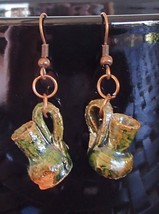Mini Glazed Terracotta Mexico Pottery New Handmade OoaK Earrings Copper ... - $19.99