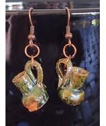 Mini Glazed Terracotta Mexico Pottery New Handmade OoaK Earrings Copper ... - $24.99