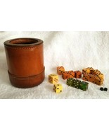 Vintage Leather Stitched Dice Cup With Assorted Dice Bakelite Lucite Etc - $75.00