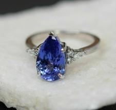 4.10 Ct Blue Tanzanite & Diamond Solitaire Engagement Ring 18k White Gol... - $78.30