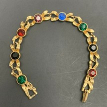 Gold Tone Multicolor Rhinestone Tennis Bracelet Vintage Bow Leaves Leaf ... - $12.82