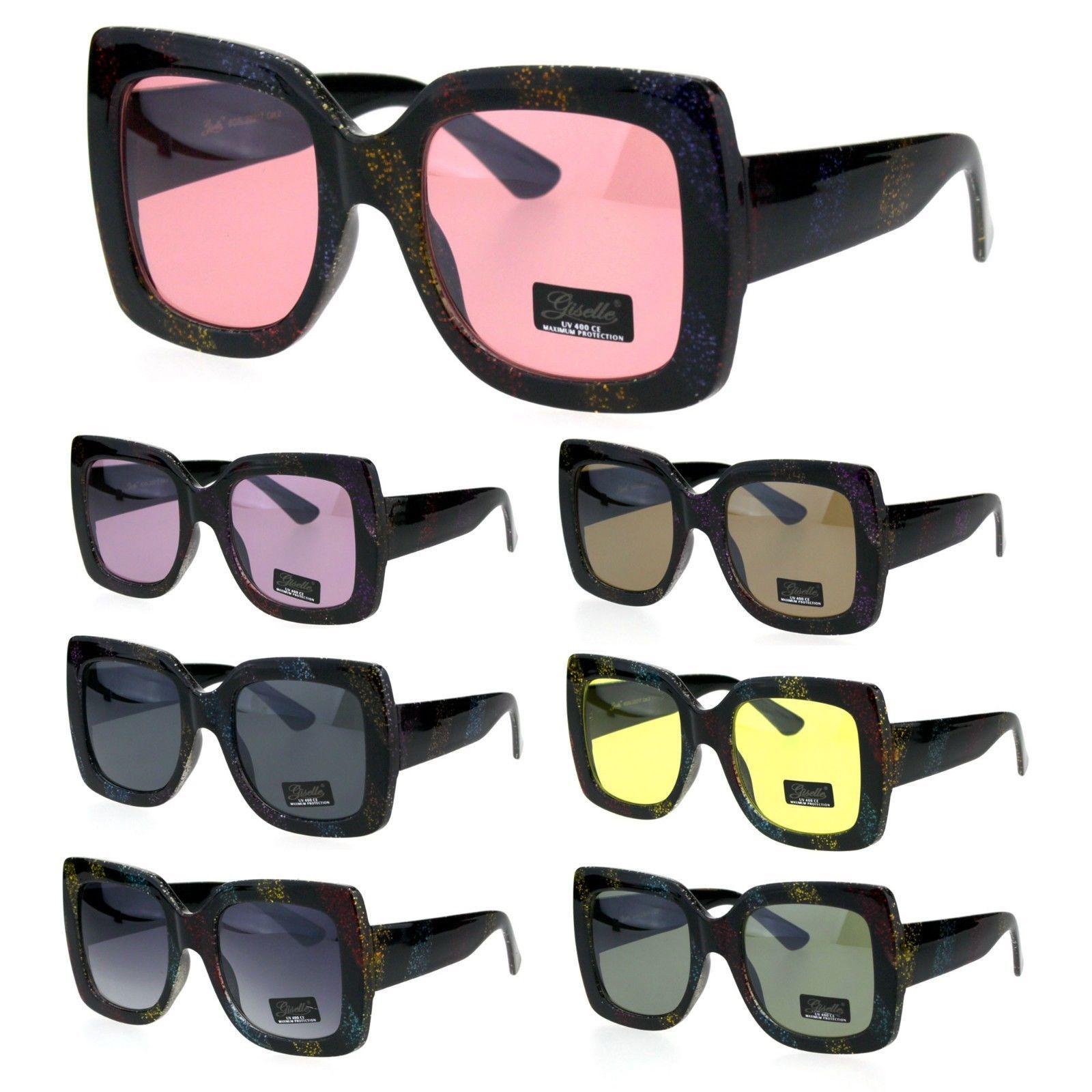 Womens Glitter Thick Plastic Rectangular Butterfly Designer Sunglasses