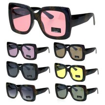 Womens Glitter Thick Plastic Rectangular Butterfly Designer Sunglasses - $9.95