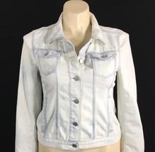 Ann Taylor Loft M M Veste Jeans Jeans Délavé Bleu Blanche Poche Trendy LN - $37.25