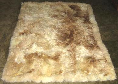 Babyalpaca fur rug, natural colores white, brown, 90 x 60 cm/ 2'95 x 1'97 ft